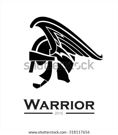 Warrior. warrior helmet,warrior head,warrior profile,side view of warrior head combine with text. prince. winged head helmet armor of a prince. artistic helmet of a centurion. artwork of a knight head - stock vector