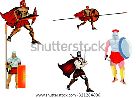 Warriors of ancient times isolated on white image - stock vector