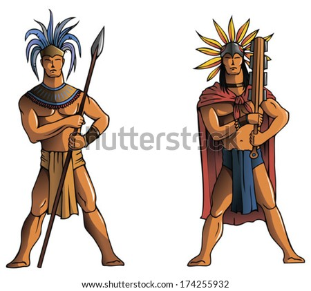 Warriors of South America, Mayan, Aztec or Inca, vector illustration - stock vector