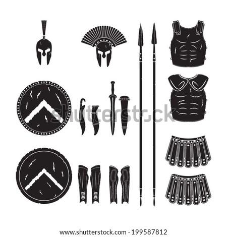 Warriors series - Spartan warriors equipment vector - stock vector