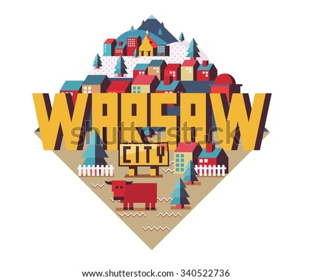Warsaw city is a beautiful destination to visit for tourism. - stock vector