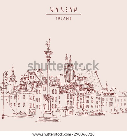 Castle Square In Old Center Historical Buildings Vector Art