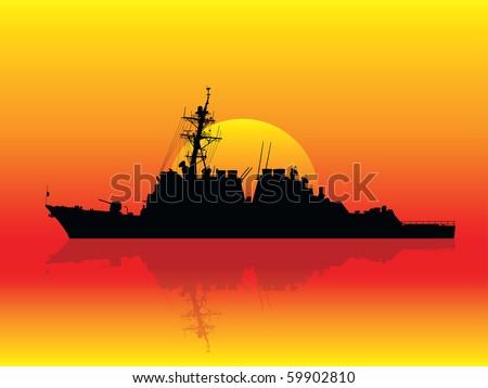 Warship at sunset - stock vector