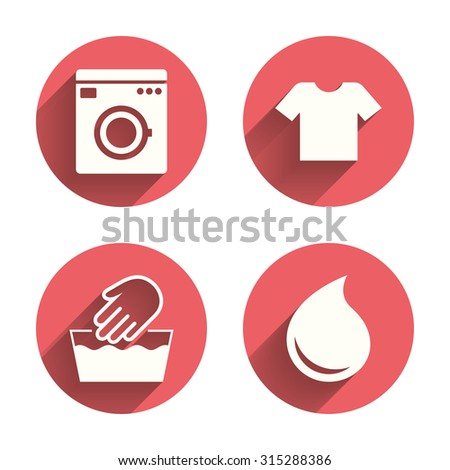 Wash machine icon. Hand wash. T-shirt clothes symbol. Laundry washhouse and water drop signs. Not machine washable. Pink circles flat buttons with shadow. Vector - stock vector