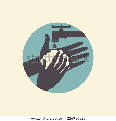 Wash your hands, vector illustration icon, health care - stock vector