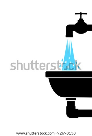 Washbasin with tap - stock vector