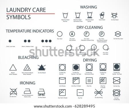 Washing Laundry Icons Set Flat Design Stock Vector 628289495