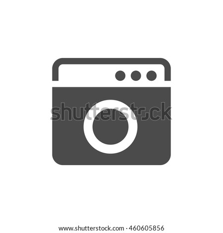 Washing machine icon in single grey color. Laundry laundromat cleaning care household domestic - stock vector