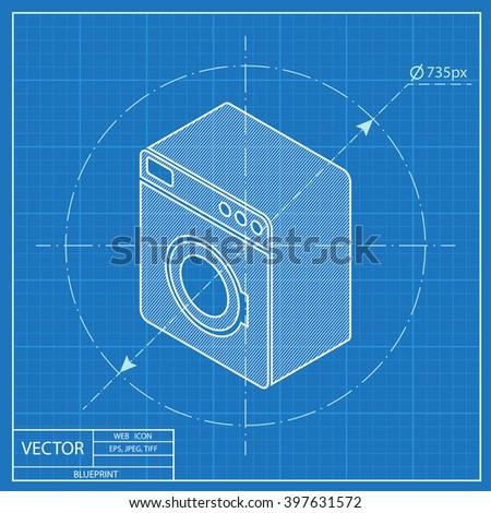 Washing machine isometric 3d blueprint icon stock vector 397631572 washing machine isometric 3d blueprint icon malvernweather Choice Image