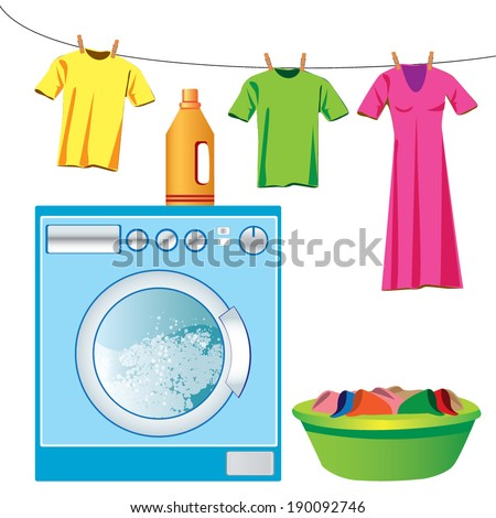 Washing machine & laundry vector - stock vector