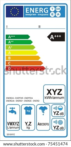 Washing machine new energy rating graph label in vector. - stock vector