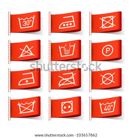 Washing symbols on clothing labels. Vector. - stock vector
