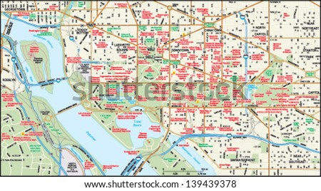 Washington Dc Downtown Map Stock Vector HD Royalty Free 139439378