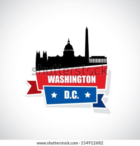 Washington DC ribbon banner - vector illustration - stock vector