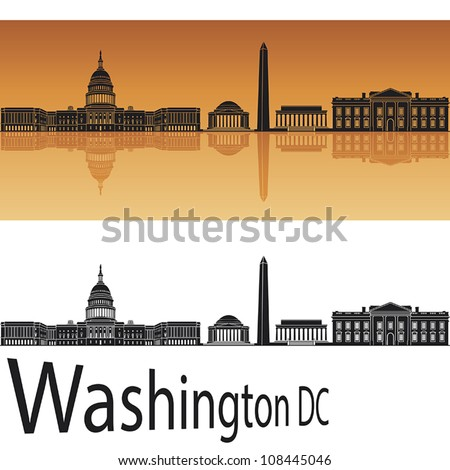 Washington DC skyline in orange background in editable vector file - stock vector