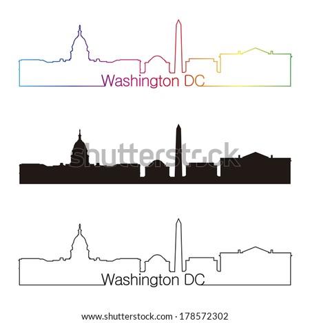 Washington DC skyline linear style with rainbow in editable vector file - stock vector