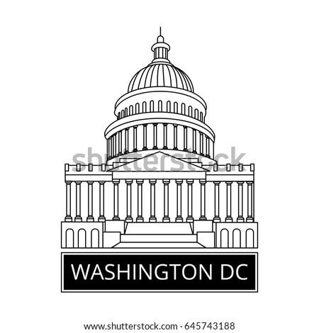 Washington DC Symbol White House Capitol Stock-Vektorgrafik ...