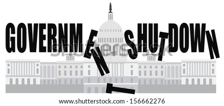 Washington DC US Capitol Building Government Shutdown Vector Illustration - stock vector