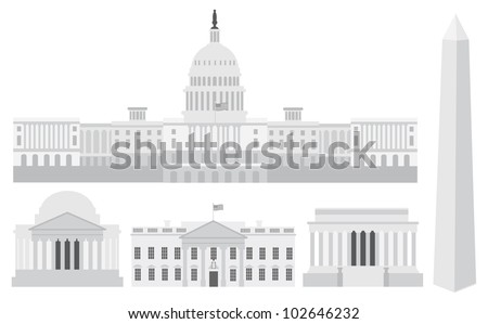 Washington DC US Capitol Building Monument Jefferson and Lincoln Memorial Illustration - stock vector
