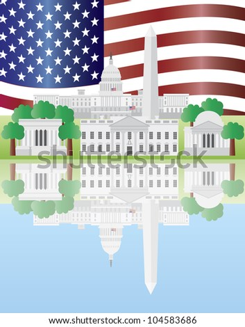 Washington DC US Capitol Building Monument Jefferson and Lincoln Memorial Reflection and US Flag Illustration - stock vector