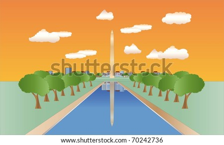 washington monument at sundown ( background on separate layer ) - stock vector