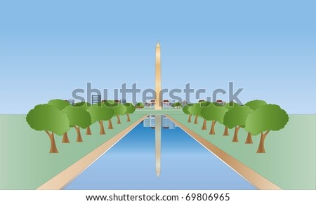 Washington monument ( background on separate layer ) - stock vector