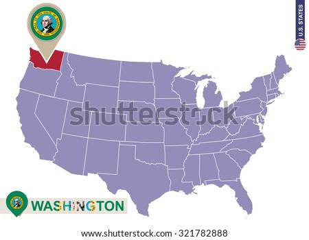 Washington State On Usa Map Washington Stock Vector - Washington us map