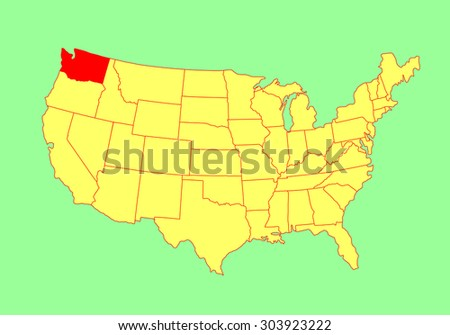 Washington State Vector Map Isolated On Stock Vector - Usa map washington state