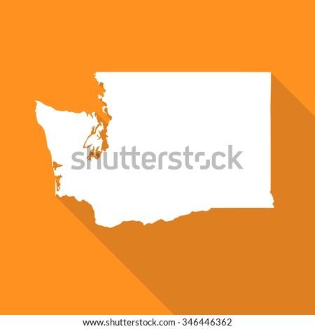 Washington white map,border flat simple style with long shadow on orange background - stock vector