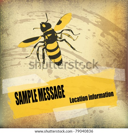 Wasp Background vector flyer over a parchment texture - stock vector