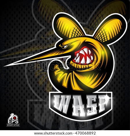 Wasp insect in profile with bared teeth logo for any sport team