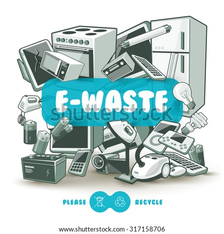 Waste electrical and electronic equipment pile. Computer and other obsolete used electronic waste stack as light backround with red title box. Please recycle concept. - stock vector