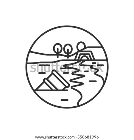Waste into the river, pond. Environmental pollution. Linear round icon
