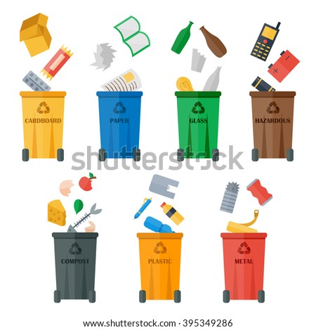 Waste sorting of garbage types set vector. Waste management and recycle concept. Separation of waste on trash metal garbage bins. Sorting waste recycling. Colored garbage cans with waste types vector. - stock vector
