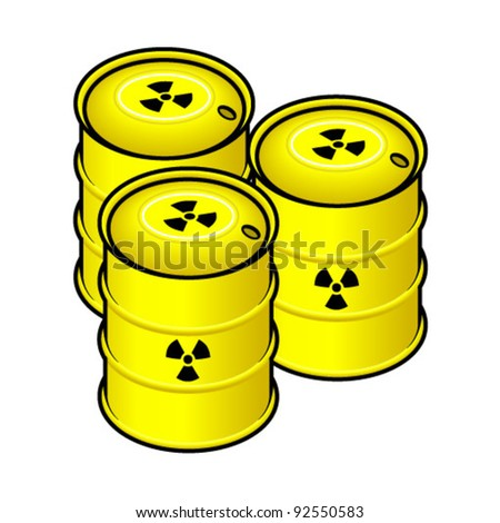 Waste storage drums - yellow; marked with radiation symbol.