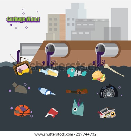 Cartoon polluted water stock images royalty free images vectors waste water with garbage vector illustration sciox Gallery