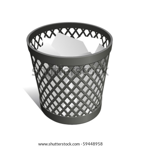 Wastepaper Basket black full - stock vector