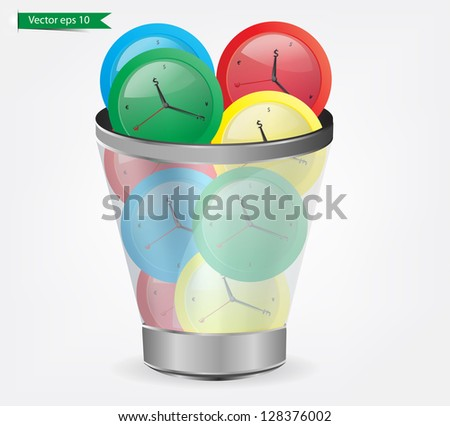 Wasting time concept, alarm clocks in the trash - stock vector