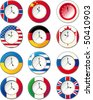 Watch, at which the flags of some countries - stock vector