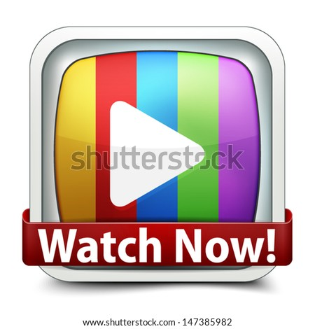 Watch Now button - stock vector