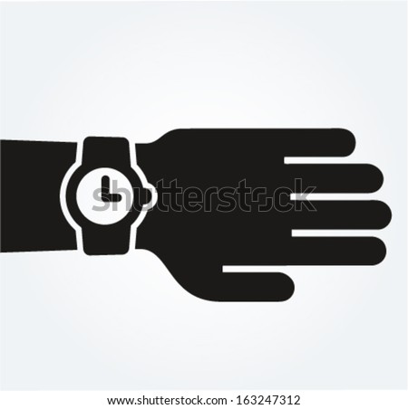 Watch on hand, punctuality concept, vector pictographic style illustration  - stock vector