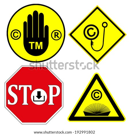 Watch out for Copyright and Trademark. Be aware, that products or services with these signs are protect by law  - stock vector