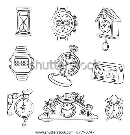 Watch Set - stock vector