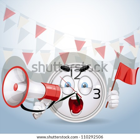 Watch smile shouting through a megaphone about the company's best offer - stock vector