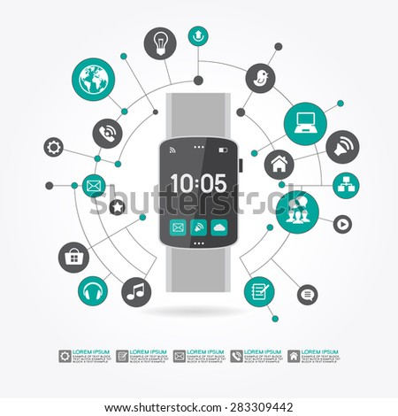 Watches surrounded by abstract computer network with integrated circles and icons for digital,  network, internet, connect, social media, communicate Infographic design background. AI10 EPS version.  - stock vector