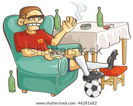 Watching football. Vector. - stock vector