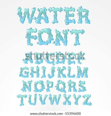 Water alphabet - find more fonts in my portfolio - stock vector