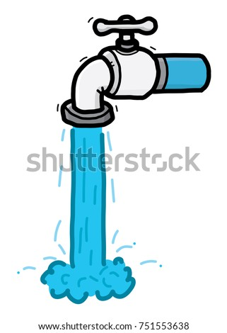Water Faucet Cartoon Vector Illustration Hand Stock Vector 751553638 ...