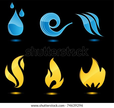 Water and fire glossy icons with reflection - stock vector