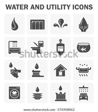 Water and utility vector icons design. - stock vector
